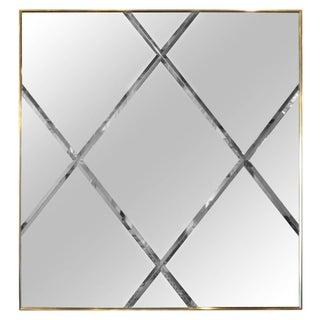 Brass Harlequin Pattern Beveled Glass Mirror