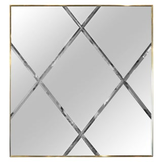 Brass Harlequin Pattern Beveled Glass Mirror