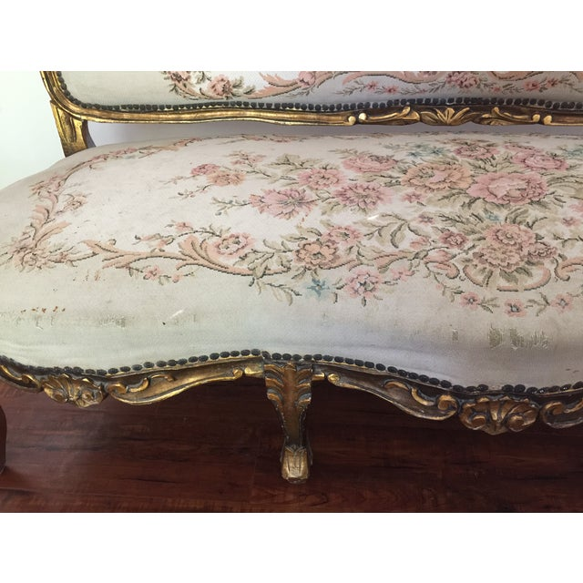 Antique Louis XV Style Tapestry Carved Sette - Image 3 of 11