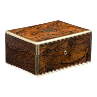 Antique Rosewood Brass Bound Jewelry Box, Circa 1825