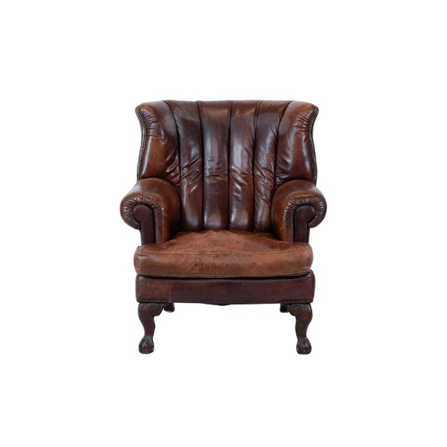 Vintage Leather Wing Back Chair - Image 2 of 4