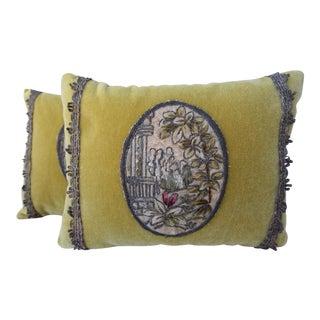 Oval Floral Applique Velvet Pillows - A Pair