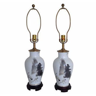 Hand-Painted Porcelain Crane Lamps - a Pair