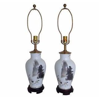 Hand-Painted Porcelain Crane Lamps - a Pair