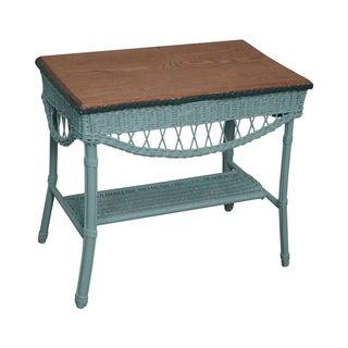 Antique 1930s Painted Wicker & Oak Table