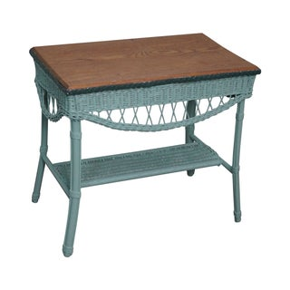 Antique 1930s Painted Wicker & Oak Table