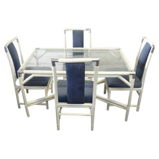 White & Navy Faux Bamboo Dining Set