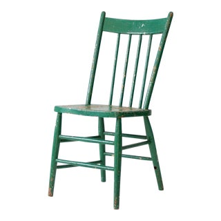 Antique Green Wood Spindle Back Chair