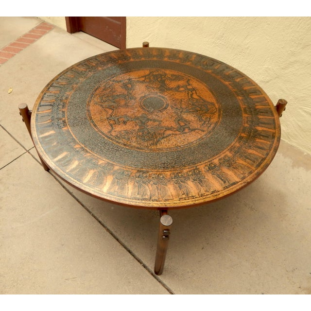 Stamped Copper Egyptian Theme Coffee Table Norway Ca 1970 Image 4 Of