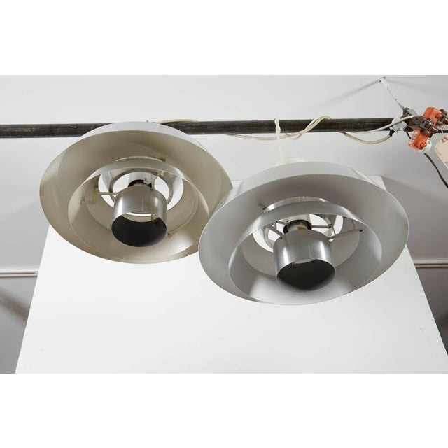 Danish Aluminum Pendent Lamp by Jo Hammerborg, Pair - Image 8 of 8