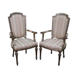 Vintage Italian Silver Painted Armchairs - A Pair