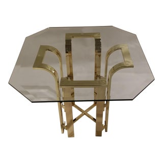 Tulip Form Glass and Gold Tone Metal Side Table