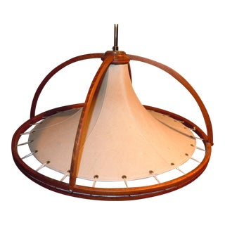 Danish Modern Teak & Canvas Pendant Light