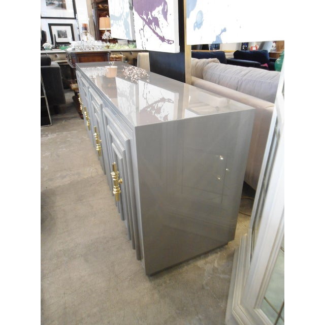 ModShop Art Deco Gray Lacquer W/ Gold Pulls Sideboard - Image 3 of 9