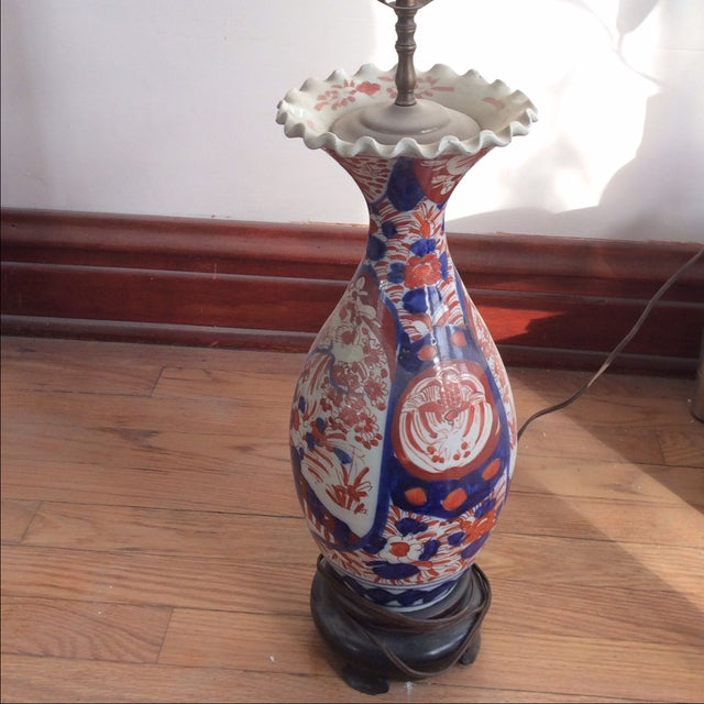 Antique Chinese Red & Blue Porcelain Table Lamp - Image 10 of 11