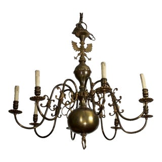 Dutch 8 Arm Dark Bronze Chandelier
