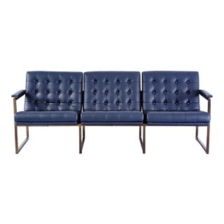 Chromcraft Leather Sofa Newly Upholstered