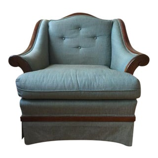 Antique Wood Accent Lounge Chair