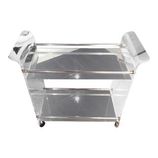 Hollywood Regency Lucite Chrome & Mirrored Bar Cart
