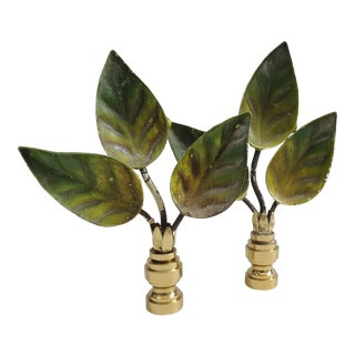 3 Leaf Cluster Tole Finials - a Pair
