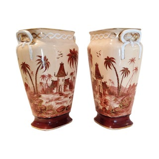 French Colonial Vases Circa 1930's - A Pair
