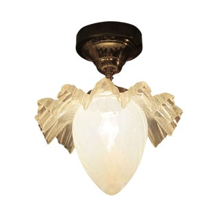 Opalescent Glass Ruffled Shade Semi-Flush Mount Light