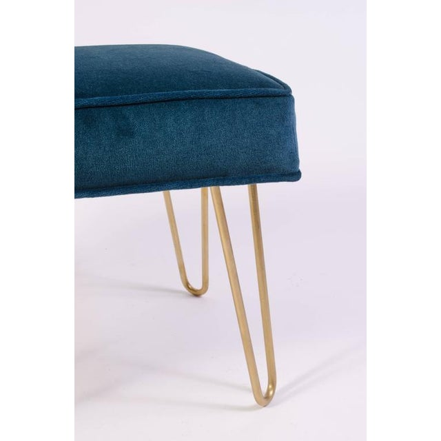 Petite Brass Hairpin Ottomans in Teal Velvet by Montage - Image 5 of 8