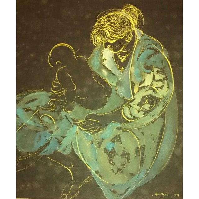 Abstract Painting Joe Capozio Woman Child - Image 4 of 7
