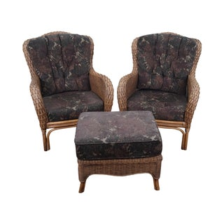Braxton Culler Wicker Wing Lounge Chairs/Ottoman
