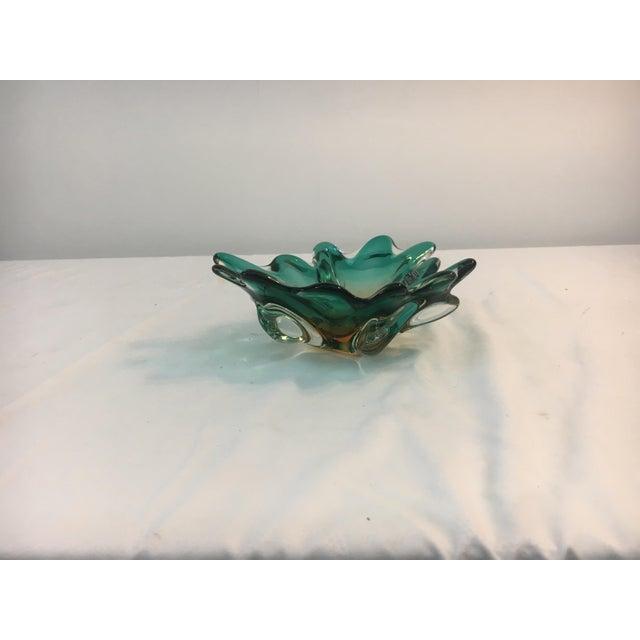 Image of Blue Scalloped Murano Glass Bowl