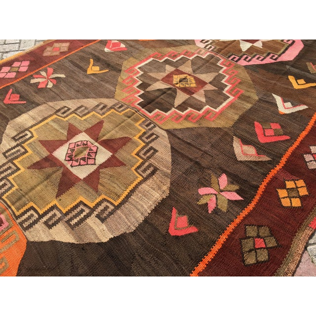 Vintage Turkish Kilim Rug - 6′4″ × 12′ - Image 9 of 10