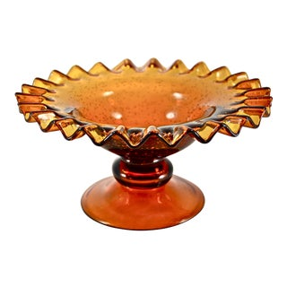 Amber Blown Seed Glass Compote