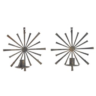 Brutalist Starburst Candle Wall Sconces- A Pair