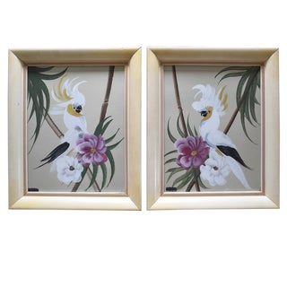 Hand Painted Floral Bird Paintings - A Pair