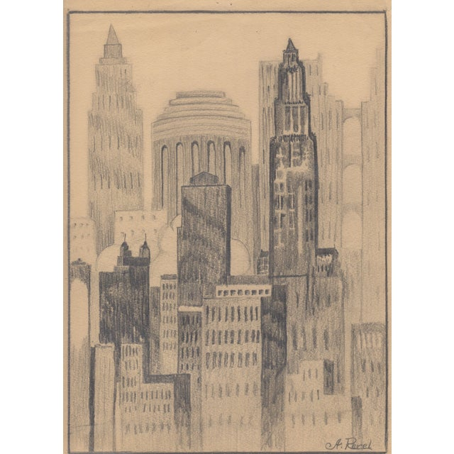 A. Revel 1920's New York City Drawing - Image 1 of 2