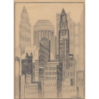 A. Revel 1920's New York City Drawing