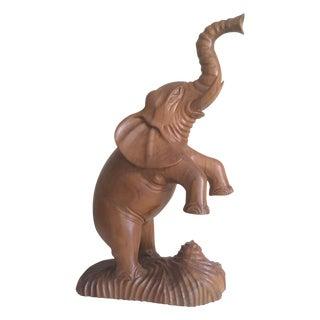 1960s Hand Carved Teak Elephant