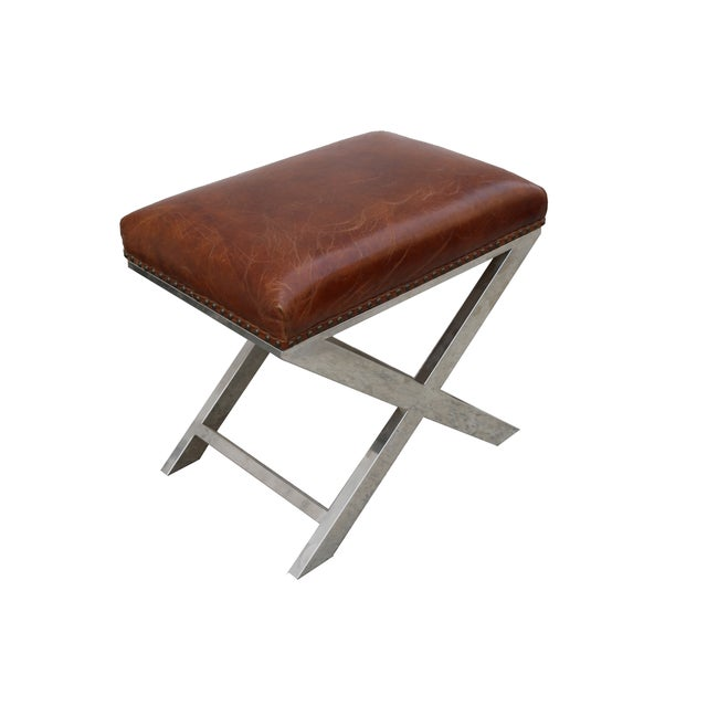 Pasargad Paris Club Leather Bench - Image 1 of 4