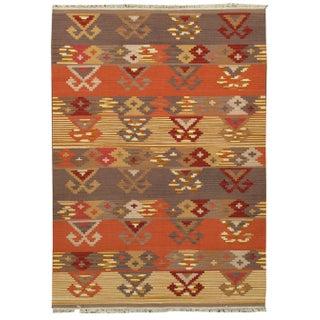 Apadana -Orange & Brown 5 x 7 Multicolor Kilim Rug
