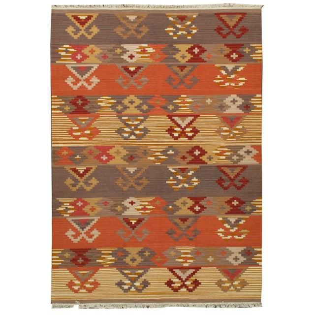Image of Apadana -Orange & Brown 5 x 7 Multicolor Kilim Rug