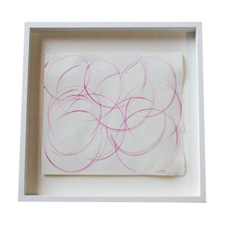 Small Square Framed Pink Abstract Painting