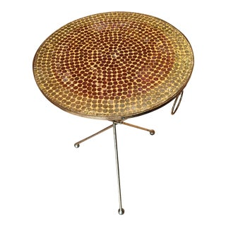 Glass Mosaic & Gold Gilt Iron Tripod Table