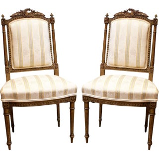 French Gilt Antique Chairs - A Pair