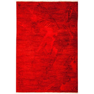 "Vibrance, Hand Knotted Modern Red Wool Area Rug - 4' 1"" X 5' 10"""