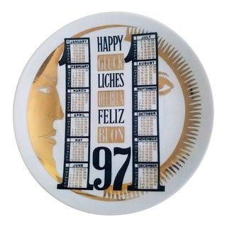 Piero Fornasetti Porcelain Calendar Plate for 1971.