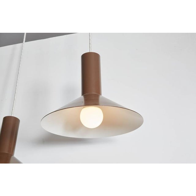 Brown Pendant Cone Lamps, Pair - Image 4 of 5