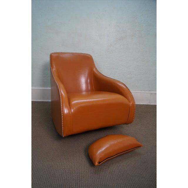 Image of Unusual Italian Leather Rocking Lounge Chair