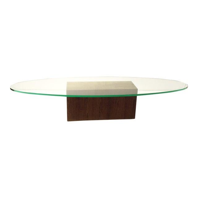 Vintage Oak & Surfboard Shape Glass Coffee Table