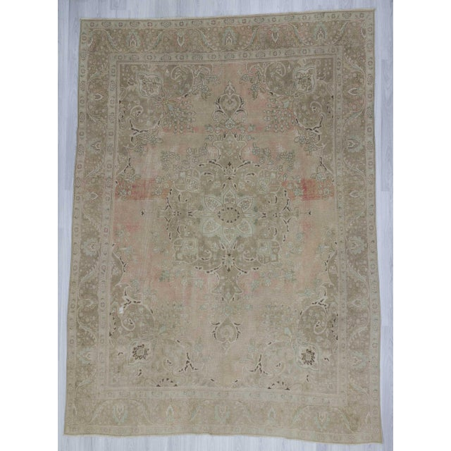 Persian Washed Out Tabriz Rug- 9′1″ × 12′6″ - Image 2 of 6