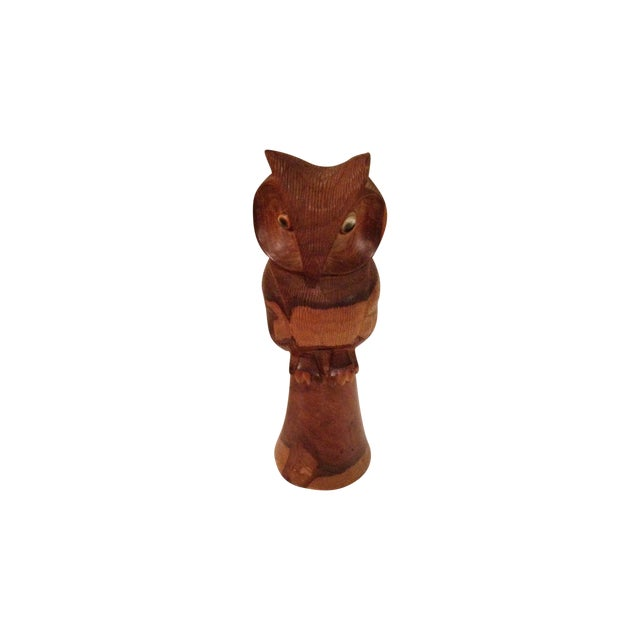 Wooden Owl/Hand Carved - Image 1 of 7